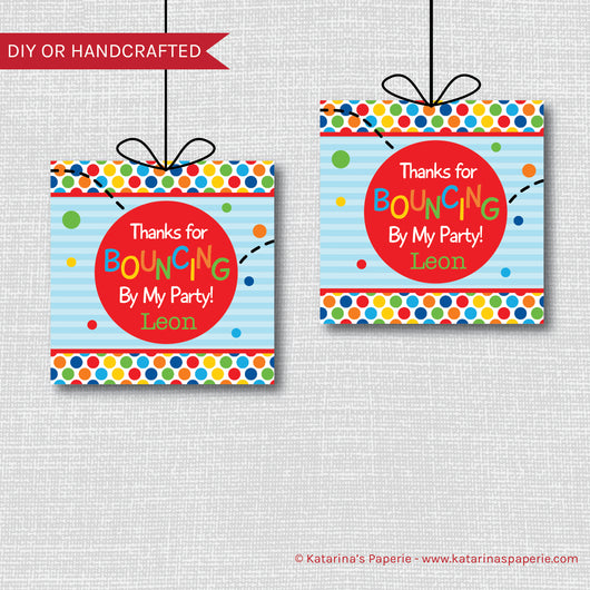 Bouncy Ball Birthday Favor Tags