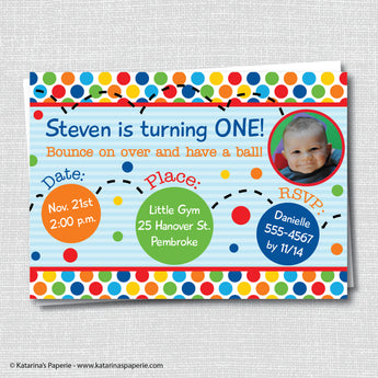 Bouncy Ball Birthday Photo Invitation