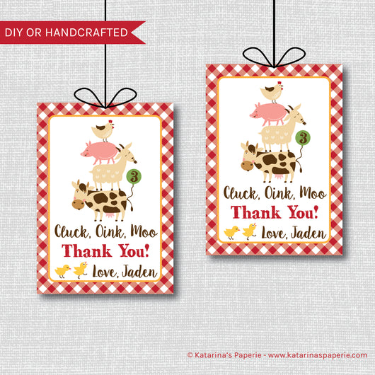 Boy Barnyard Birthday Favor Tags