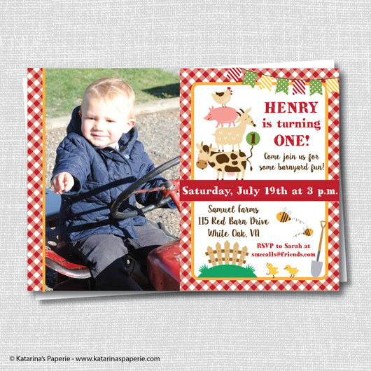 Boy Barnyard Birthday Photo Invitation