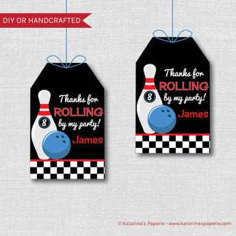 Boy Bowling Birthday Favor Tags