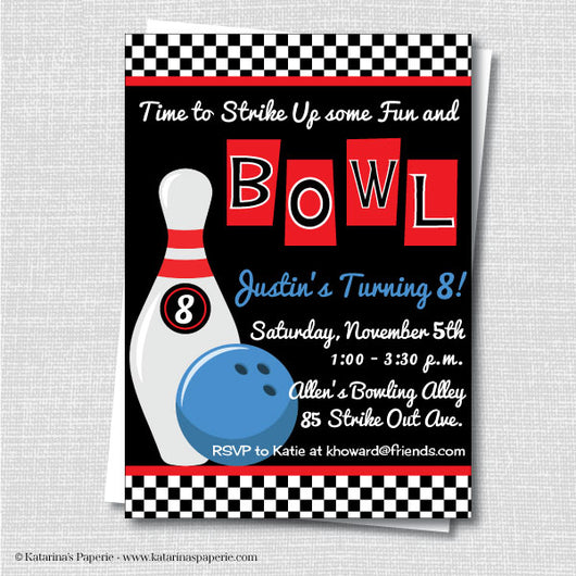 Boy Bowling Birthday Invitation