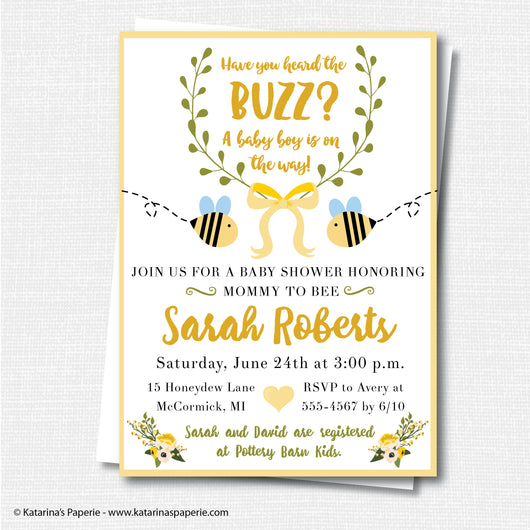 Boy Bumblebee Baby Shower Invitation