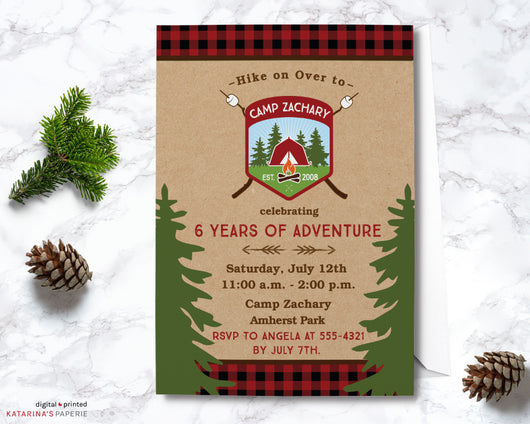 Boy Classic Camping Birthday Invitation