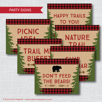 Boy Camping Party Signs Set (Instant Download)