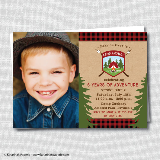 Camping Birthday Photo Invitation