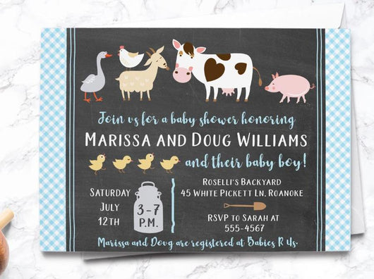 Boy Chalkboard Barnyard Baby Shower Invitation