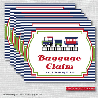 Boy Choo Choo Train Party Signs Set (Instant Download)