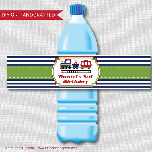 Choo Choo Train Water Bottle Labels