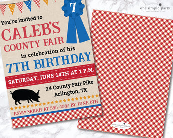 Printable Boy County Fair Birthday Invitation