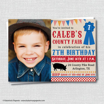 Boy County Fair Birthday Photo Invitation