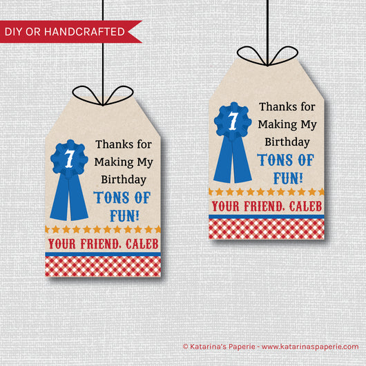 Boy County Fair Birthday Favor Tags