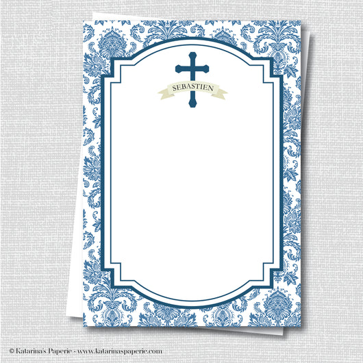 Blue Damask Thank You Note