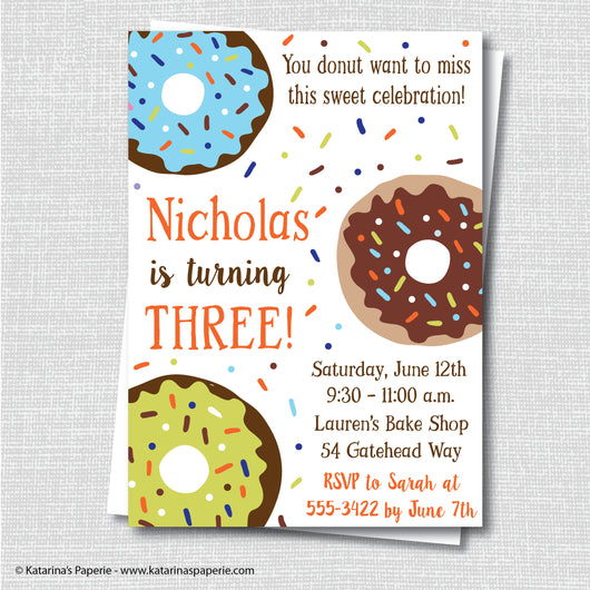Boy Donut Birthday Invitation
