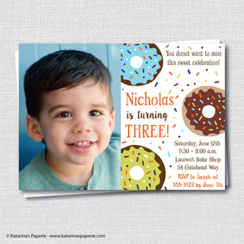 Boy Donut Birthday Photo Invitation