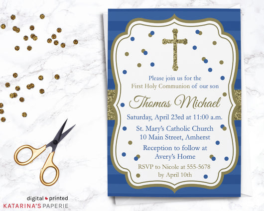 Navy Blue and Gold First Communion Invitation