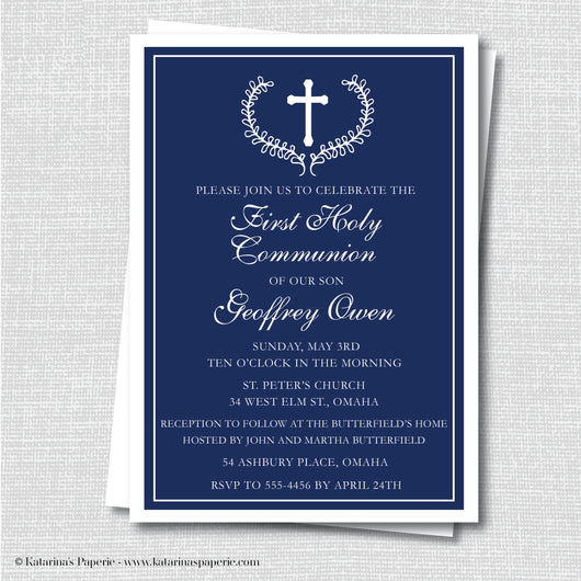 Formal Navy Blue First Communion Invitation