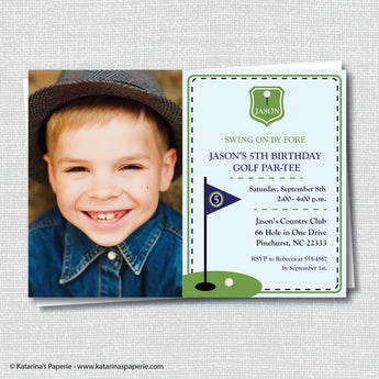 Boy Golf Birthday Photo Invitation