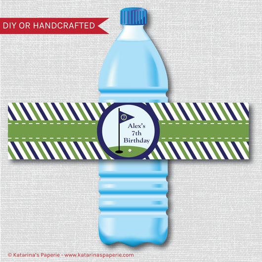 Boy Golf Water Bottle Labels