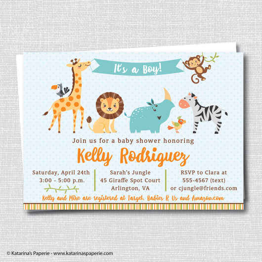 Boy Jungle Baby Shower Invitation