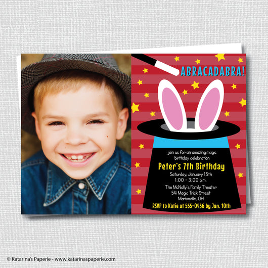Boy Magic Birthday Photo Invitation