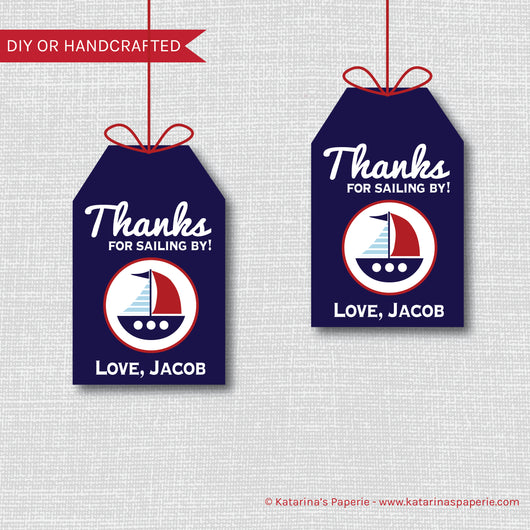 Boy Sailboat Birthday Favor Tags
