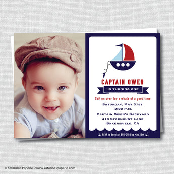 Sailboat Birthday Photo Invitation