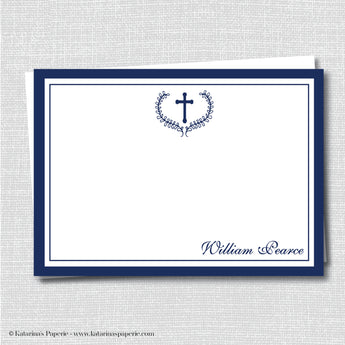 Navy Blue Formal Thank You Note