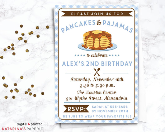 Blue Pancakes and Pajamas Birthday Invitation