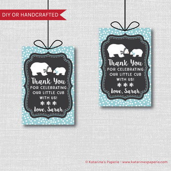 Boy Polar Bear Baby Shower Favor Tags