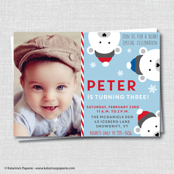 Boy Polar Bear Birthday Photo Invitation