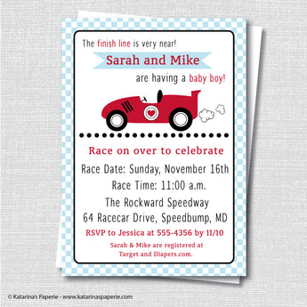 Race Car Baby Shower Invitation
