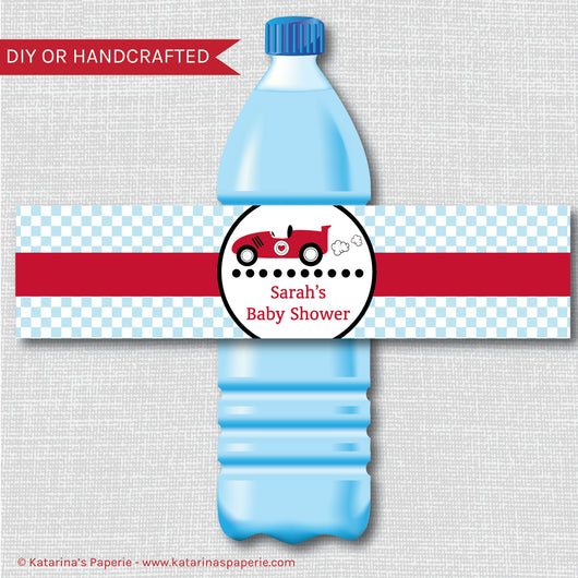Boy Race Car Baby Shower Water Bottle Labels