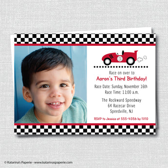 Boy Race Car Birthday Photo Invitation