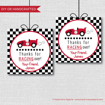 Boy Race Car Birthday Favor Tags