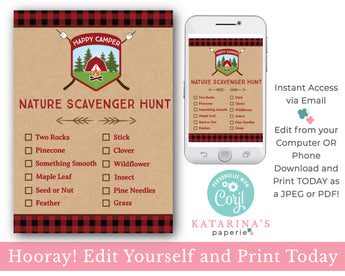 Editable Boy Nature Scavenger Hunt