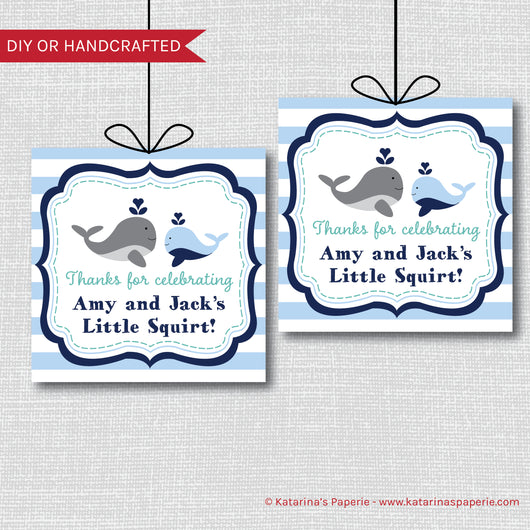 Boy Whale Baby Shower Favor Tags