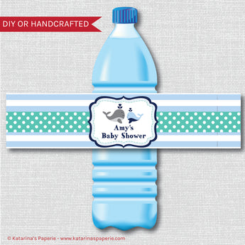 Boy Whale Water Bottle Labels
