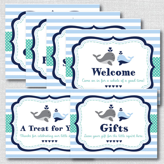 Boy Whale Baby Shower Signs Set (Instant Download)