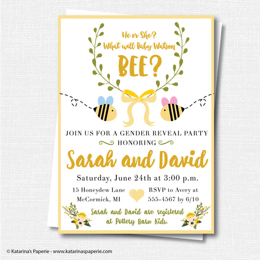 Bumblebee Gender Reveal Invitation