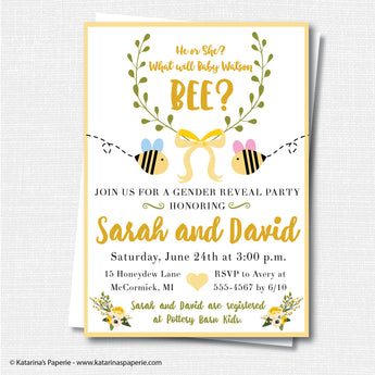 What Shall It Bee?  Bumblebee Gender Reveal Invitation