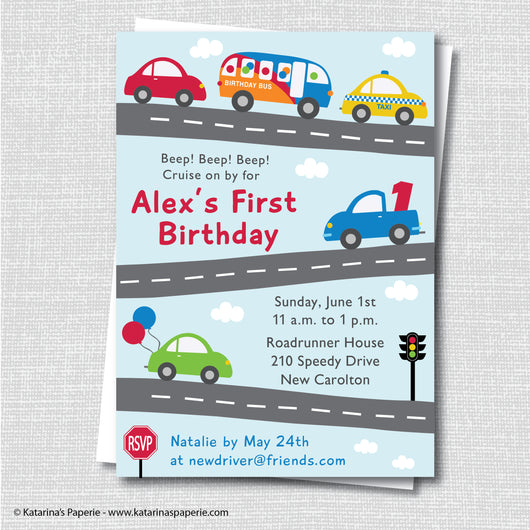 Cars and Trucks Birthday Invitation