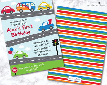 Printable Cars and Trucks Birthday Invitation