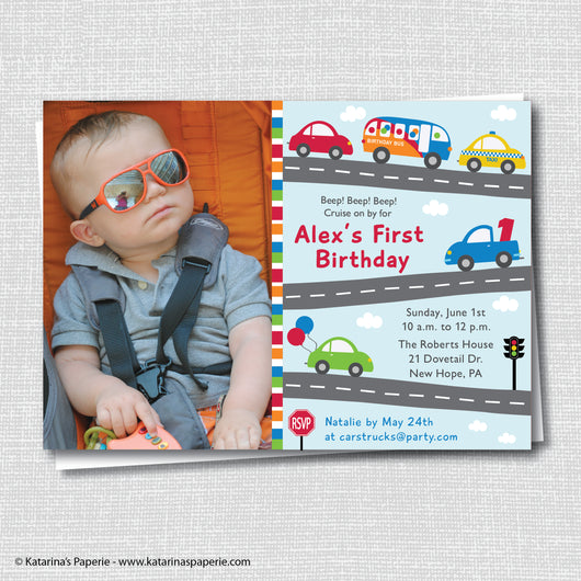 Cars and Trucks Birthday Photo Invitation