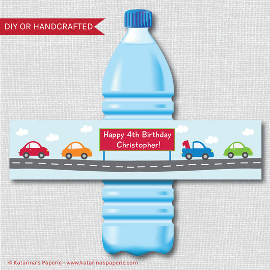 Cars and Trucks Water Bottle Labels
