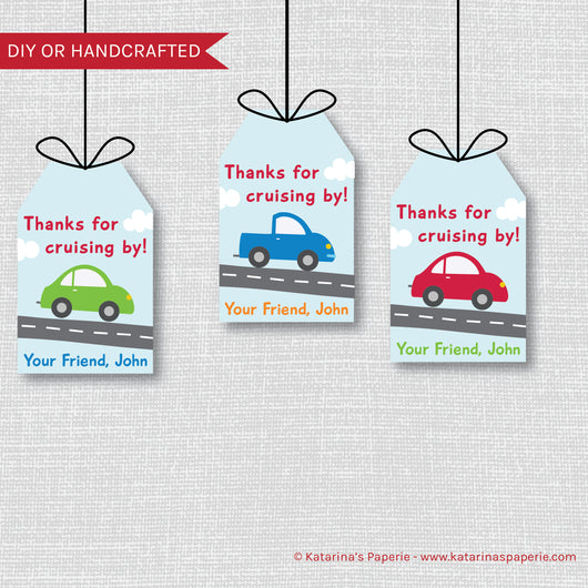 Cars and Trucks Birthday Favor Tags