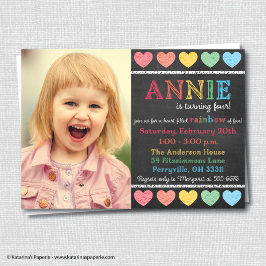 Chalkboard Rainbow Hearts Birthday Photo Invitation