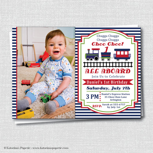 Boy Choo Choo Train Birthday Photo Invitation
