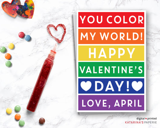 Classic Rainbow Color My World Valentine's Day Card