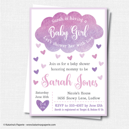 Girl Cloud Baby Shower Invitation